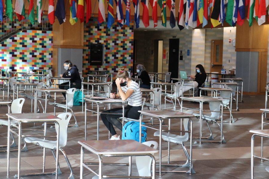 Students work in the commons while keeping social distance and wearing masks. The WHS staff and students have been maintaining COVID-19 guidelines to keep everyone safe.