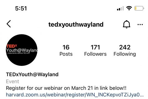 """After many months of planning and practicing, the TEDxYouth Wayland speakers will be presenting their talks virtually on Sunday, March 21 at 3:00 p.m. """"These students have worked extremely hard on their talks, and we are thrilled to finally share them with the Wayland community,"""" TEDx core team member senior Aydan McGah said."""