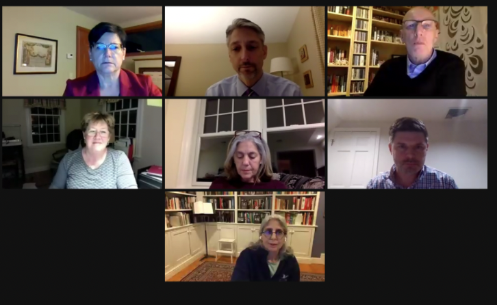 Above is a screenshot from the School Committee meeting on March 3, when public discussion about returning to the all-in model began. Clockwise from top left: Susan Bottan, Assistant Superintendent Parry Graham, Director of Student Services Richard Whitehead, Chris Ryan, Ellen Grieco (center), Kim Reichelt (bottom) and Kathie Steinberg (left).