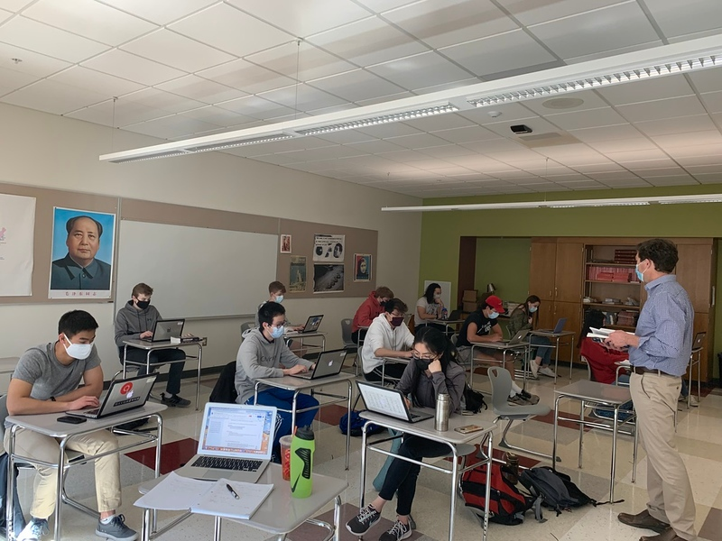 Sean Chase's Advanced Placement US history class has 22 students in it. In April, when the school goes all-in, larger classes will have to make the biggest adjustment to their rooms in order to learn safely.