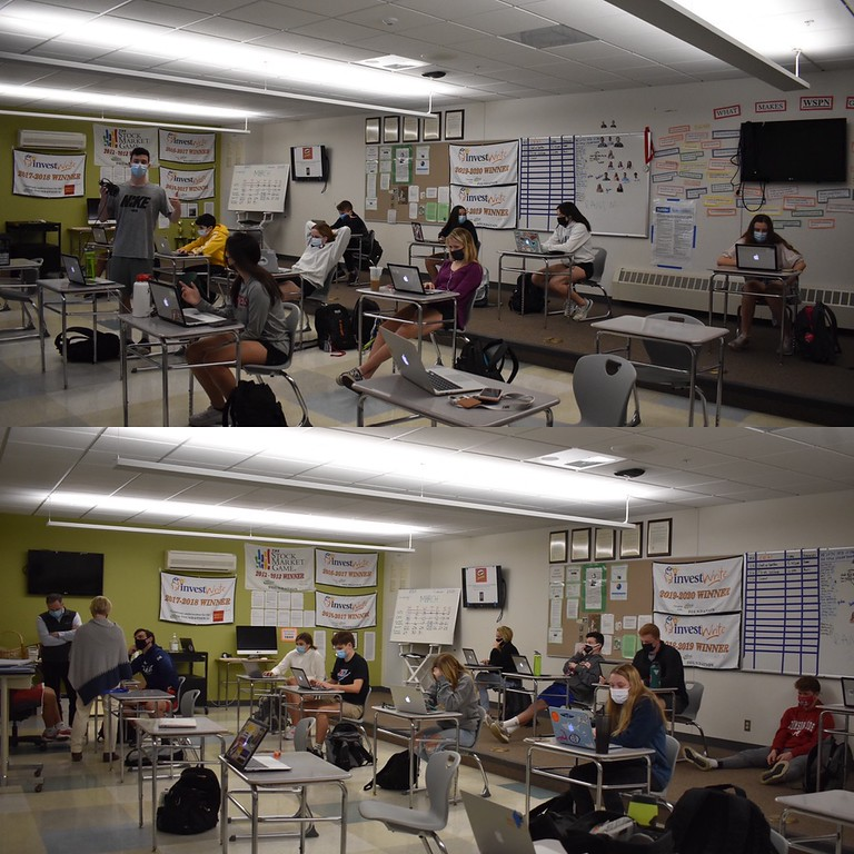 Cohort B (top) and Cohort A (bottom) both fill up the journalism classroom. With a large number of students, the WSPN staff have adapted this year by communication through Zoom. The journalism class consists of 52 students, so even with cohorts, they have two different classrooms.
