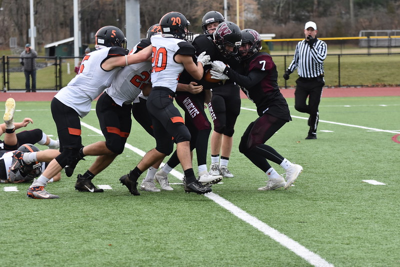 The Wayland football team did not have their traditional Thanksgiving day game against Weston and didn't have a typical fall season, either. Instead, football is considered a part of the Fall II season, and they had their first game on Saturday, March 6.