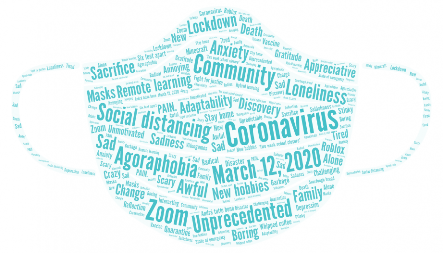 In+a+survey+sent+out+to+Wayland+High+School+students%2C+students+thought+of+one+word+or+phrase+that+describes+or+commemorates+the+past+year.+Among+the+most+common+words+were+unprecedented%2C+Zoom+and+social+distancing.+