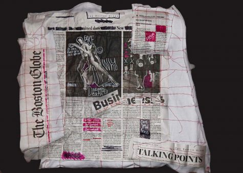 "Senior Meghan Flathers altered a newspaper in an artistic way with her piece ""Altered Newspaper #1."" ""I have become really interested by altered books [and] newspapers as an art form because I feel it allows me to make a political statement without being so blunt,"" Flathers said. ""The actual act of changing a piece of the newspaper seems very powerful to me. I am editing a piece of news just as the media does."""