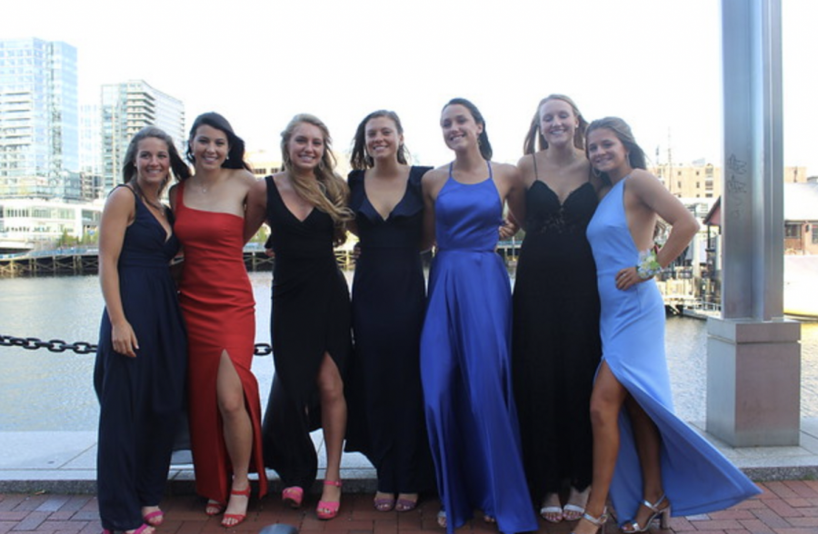 WHS students stand outside of their prom in Boston, the last junior prom that happened prior to COVID-19.