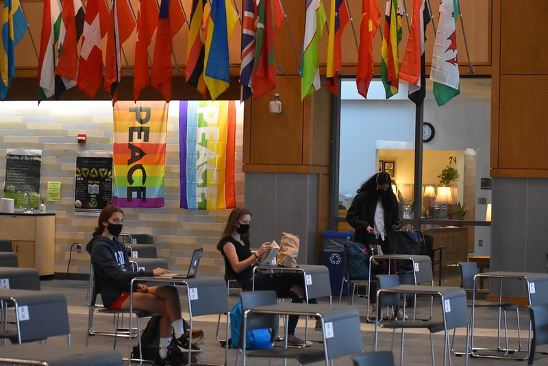 With the lecture hall and SLC having limited capacity for students during all-in, many students venture to the commons to converse and complete their work.