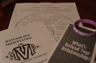 A collection of Wayland High Schools MVP Club handouts. The districts Healthy Relationship Task Force focuses on ensuring healthy relationships in the district. It was formed after the Dear Wayland Instagram account, which highlighted anonymous stories of sexual assault in Wayland, went viral in summer 2020.