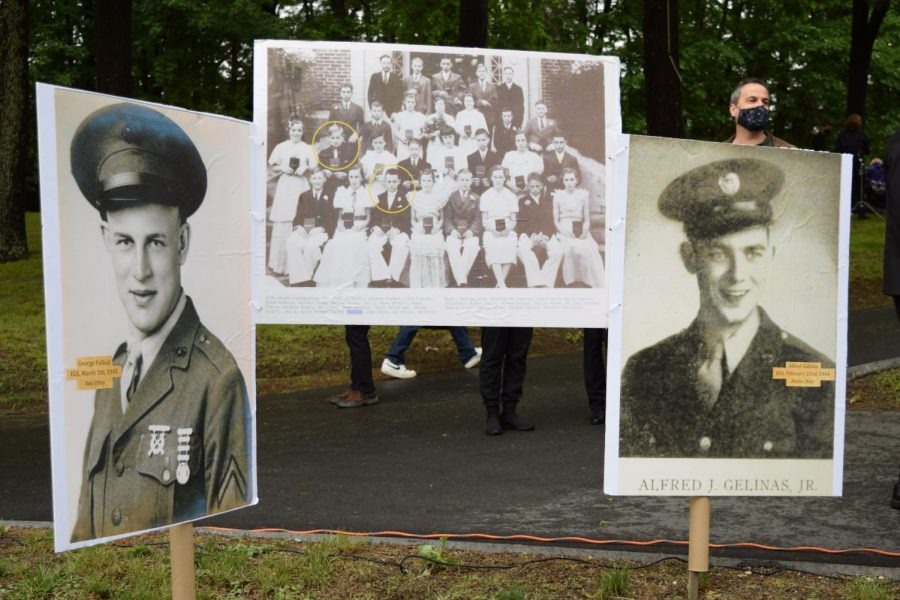 Displayed are the three photographs that inspired Kevin Delaney's Memorial Day Key Note Address. Center is the photograph of the 1936 Cochituate School's 8th grade class, of which Alfred Galinas and George Fullick were members. Both were killed in action during World War Two.
