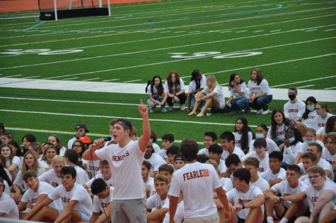 Student Council President Luciano Sebastianelli and Vice President Devin DiCarlo make their first day of school speech as they inform everyone on what they