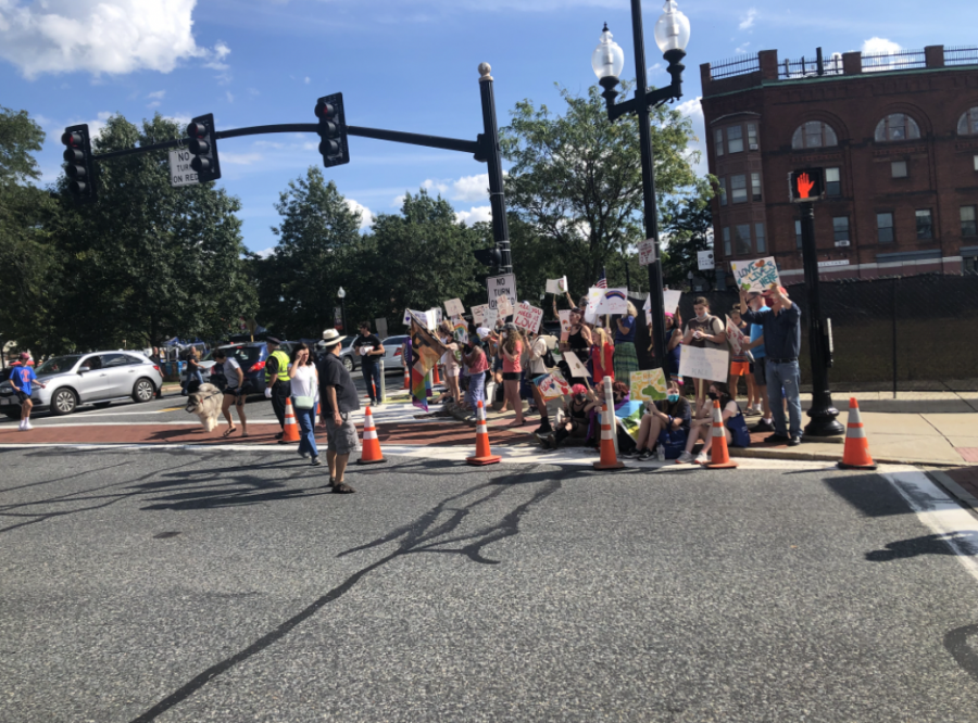 Counter protesters gather in Natick Center during Natick Days, opposing the Super Happy Fun America demonstration.