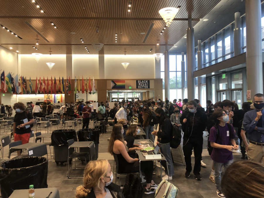 The entire school congregates in the commons and the field house for the club fair. Club fair took place during extended advisory.