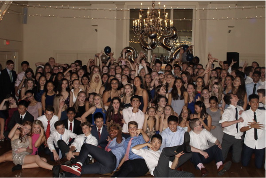 """The Class of 2022 celebrates their semi-formal, held at the Weston Golf Club. The Class of 2022 semi-formal was the last school dance hosted for Wayland students since the pandemic hit. The current junior class was not able to have a semi-formal last year and is in the process of planning its dance for this year despite a series of setbacks. """"If we do have it at the high school, it's not your 'typical' semi-formal,"""" Junior Class Vice President Samantha Tyska said. """"I hope that our grade reacts to that and doesn't get angry, [but are] more so appreciative of the idea that we're able to hold an event for our class."""""""